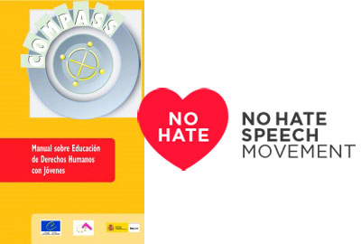 Portada del manual COMPASS y Logo No hate Speech Movement